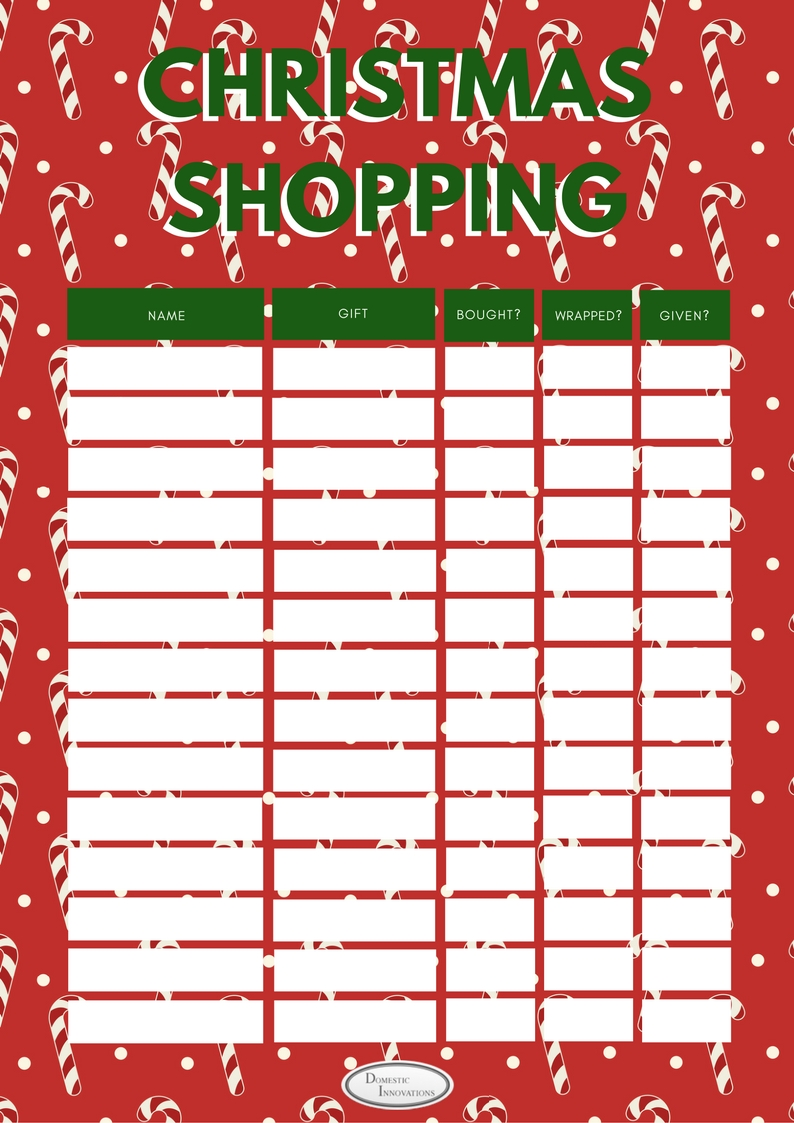 picture about Printable Christmas Shopping List named Household Developments :: Xmas Reward Checklist - Cost-free Printable